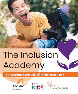 Image of young boy who uses a wheelchair. Text read: The Inclusion Academy, for parents and allies of young children