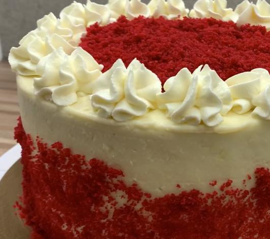 finished red velvet birthday cake