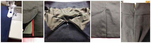 Jeans Bleistiftrock mit Schlitz und Bluse mit Bschofsärmeln und Knopfleiste am Rücken nähen