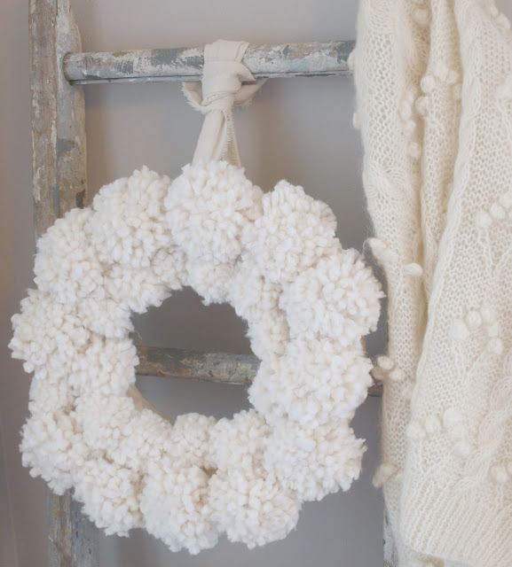 Hello Lovely Studio wooly pom pom Christmas wreath