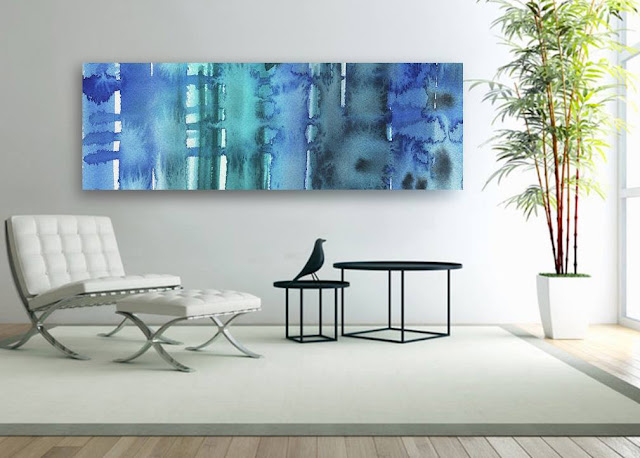Blue abstract watercolor lines bestselling painting by artist Irina Sztukowski