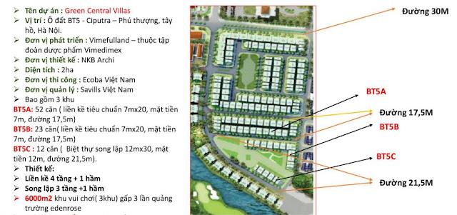 Biệt thự Green Central Villas dự án Vimefulland, Ciputra Võ Chí Công Tây Hồ