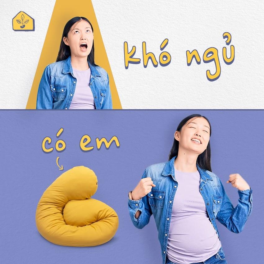 [A159] Gối Bà Bầu Đậu Khuyết đa-zi-năng, hỗ trợ toàn diện trong thai kỳ