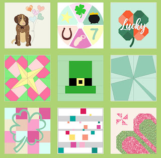 variety of pink yellow green quilt blocks