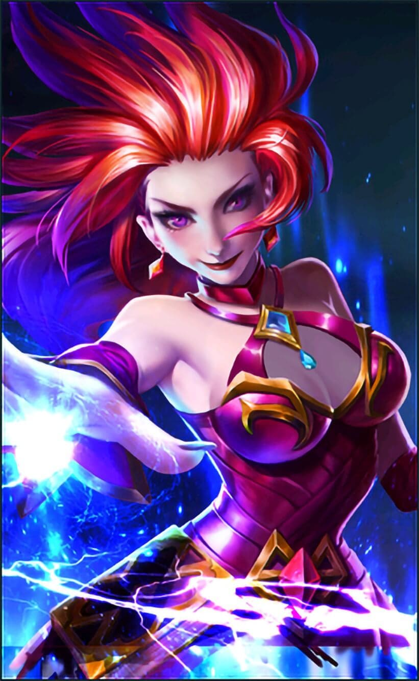 Wallpaper Eudora Flame Red Lips Skins Mobile Legends HD for Mobile