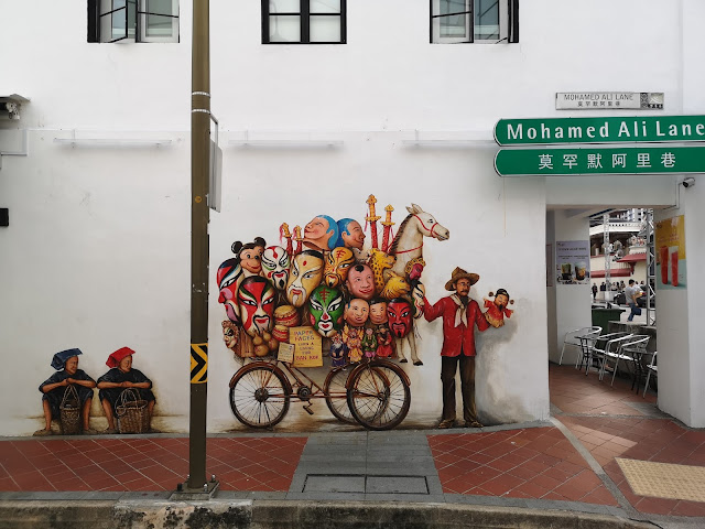 Chinatown mural - Paper Mask and Puppet Seller