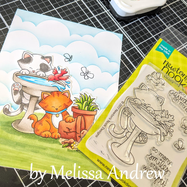 Always on my Mind Kitty Card by June Guest Designer Melissa Andrew | Naughty Newton Stamp Set, Newton's Birdbath Stamp Set and Clouds Stencil by Newton's Nook Designs #newtonsnook #handmade