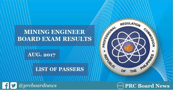 August 2017 Mining Engineer board exam passers, topnotchers