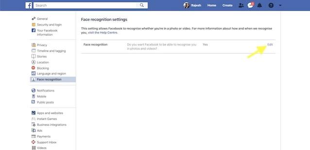 Cara Menonaktifkan Pengenalan Wajah Facebook