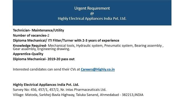 Urgent Requirement Diploma Mechanical/ ITI Fitter/Turner Candidates in Highly Electrical Appliances India Pvt. Ltd. Matoda, Ahmedabad