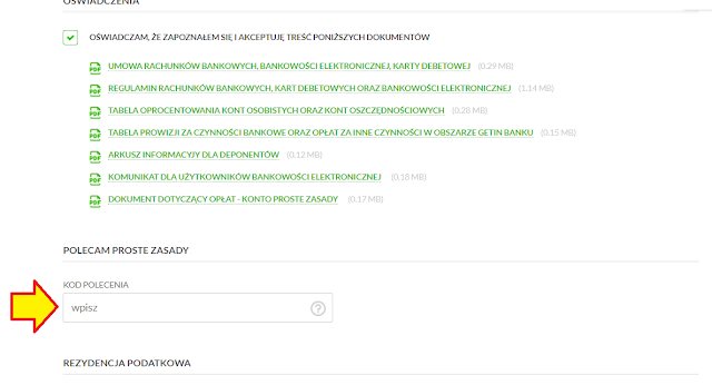 Gdzie podać kod polecenia we wniosku o konto w Getin Banku z premią 50 zł za otwarcie