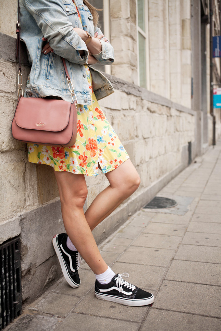 socks in oldskool vans, pink kate spade bag, vintage floral dress