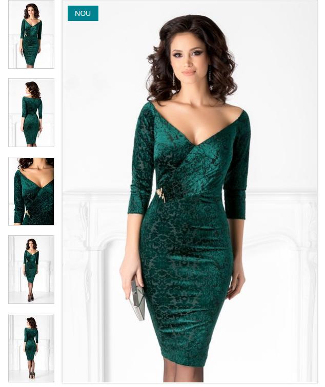rochie verde de ocazie  design vintage catifeate  elastic la umerii  decolteu in V tip petrecut