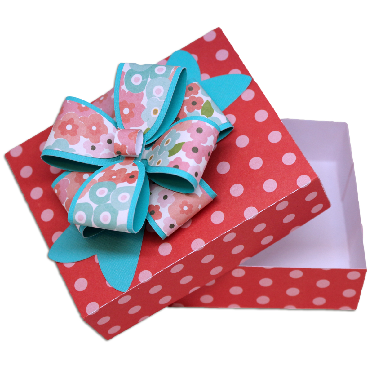 Bits of paper gift box with bow