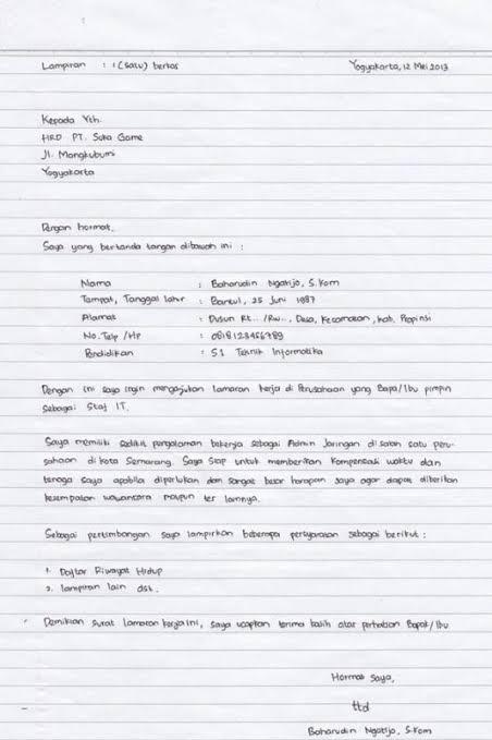 Contoh Surat Lamaran Kerja Umum Dengan Baik Dan Benar Triprofik Com