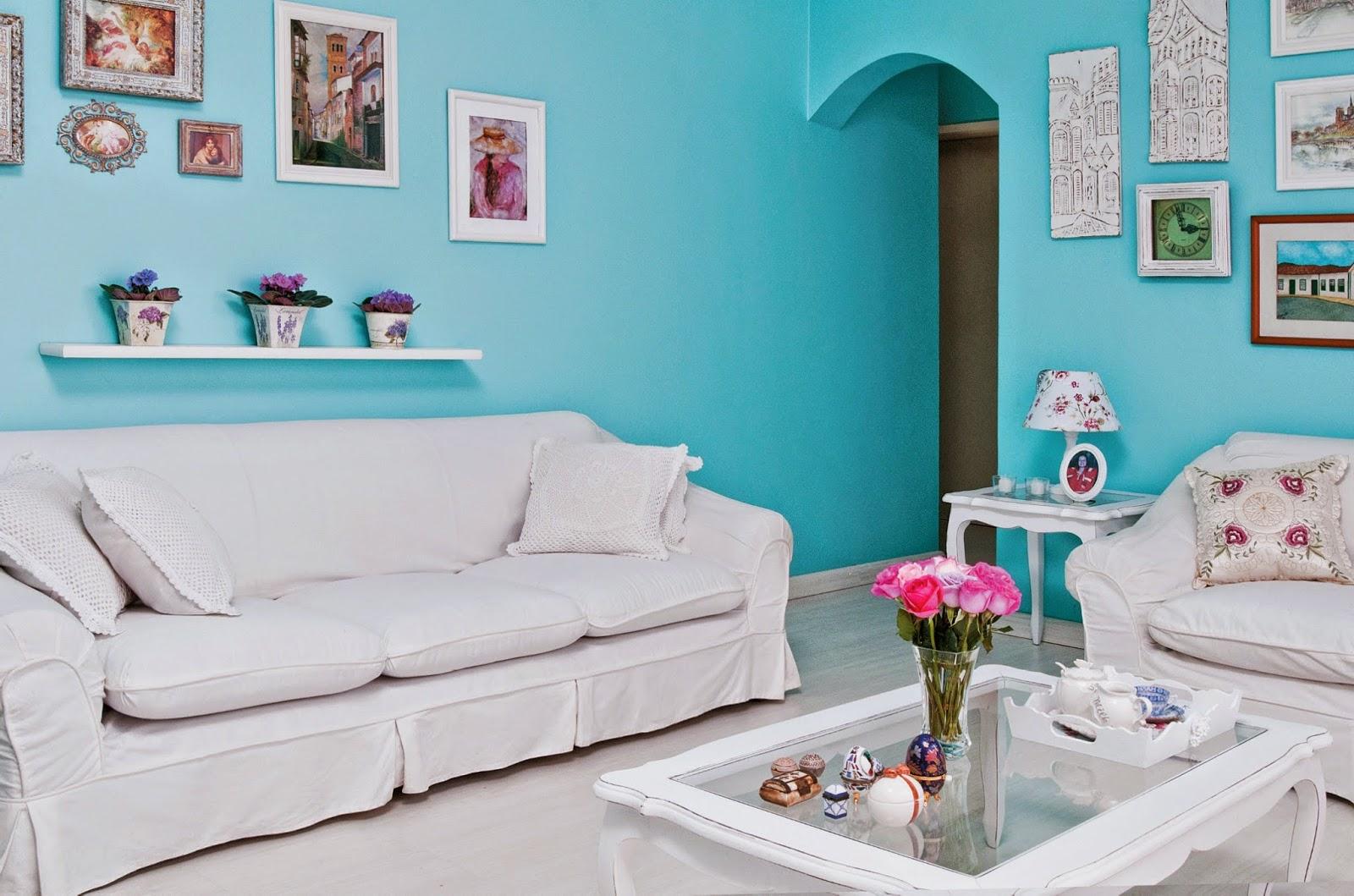 Sala de estar ideias de vários estilos para decorar  ~ Quarto Pintado De Azul Turquesa