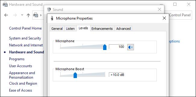 مستوى صوت الميكروفون وتعزيز الخيارات التي تؤثر على ضجيج الخلفية