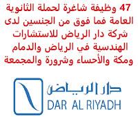 تعلن شركة دار الرياض للإستشارات الهندسية (Dar Al Riyadh), عن توفر 47 وظيفة شاغرة لحملة الثانوية العامة فما فوق من الجنسين, للعمل لديها في الرياض والدمام ومكة والأحساء وشرورة والمجمعة. وذلك للوظائف التالية: 1- مهندس اتصالات وإلكترونيات   (Sr. Telecommunications and Electronics Engineer). 2- مسـاعد إداري   (Administrative assistant). 3- أخصـائي عـقود   (Contracts Specialist). 4- مفـتش مـدني   (Civil Inspector). 5- مفـتش ميكـانيكـي   (Mechanical Inspector). 6- مهـندس مـدني   (Civil Engineer). 7- مهـندس تخطـيط مـدني   (Planning Civil Engineer). 8- أخصـائي تكنولوجـيا المعلومـات   (IT Specialist). 9- سكـرتير تنفـيذي   (Executive Secretary). 10- مـهندس مـدني أول   (Senior Civil Engineer). 11- أخصـائي ضـمان الجـودة   (Quality Assurance Specialist). 12- محاسـب   (Accountant). 13- محاسـب إداري   (Management Accountant). 14- مسـاح الكـميات   (Quantity Surveyor). 15- مـدير مجـموعة الصـحة والسـلامة والبيئة والجـودة   (Group HSEQ Director). 16- مـدير المشـروع   (Project Manager). 17- شـريك المـوارد البشـرية ومـدير اكـتساب المواهـب   (HRBP & Talent Acquisition Manager). 18- مـفتش ميكانيكـي   (Mechanical Inspector). 19- مـهندس تصـميم كـهربائي   (Electrical Design Engineer). 20- مـفتش ميكانيكـي   (Mechanical Inspector). 21- مـدير المكـتب الفـني   (Technical Office Manager). 22- مدقـق الصـحة والسـلامة والبيئة والجـودة   (HSEQ Auditor). 23- مـدير أنظـمة الصـحة والسـلامة والبيئة والجـودة   (HSEQ SYSTEMS MANAGER). 24- مـفتش إنشـائي   (Structural Inspector). 25- أخصـائي الجـودة   (QA / QC Specialist). 26- أخصـائي الصحـة والسـلامة والبيئة   (HSE Specialist). 27- مـهندس كـهربائي (تيار منخـفض / شبكـات)   (Electrical Engineer). 28- مـهندس كـهربائي أول (تيار منخـفض / شبـكات)   (Senior Electrical Engineer). 29- مـهندس التخطـيط والجـدولة   (Planning & Scheduling Engineer). 30- مـفتش الصحـة والسـلامة   (HSE Inspector). 31- مسـاح   (Surveyor). 32- مـفتش ميكـانيكـي   (Mechanical Inspector). 33- مـفتش معـماري   (Architect Inspector). 34- مسـاح الكـميات   (Quantity Surveyor). 35- مـهندس مـعماري   (A