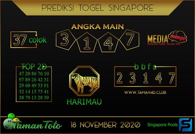 Prediksi Togel SINGAPORE TAMAN TOTO 18 NOVEMBER 2020