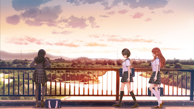Blue Reflection cut scene art