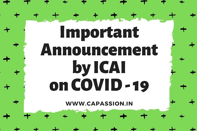 Important Announcement by ICAI on COVID 19