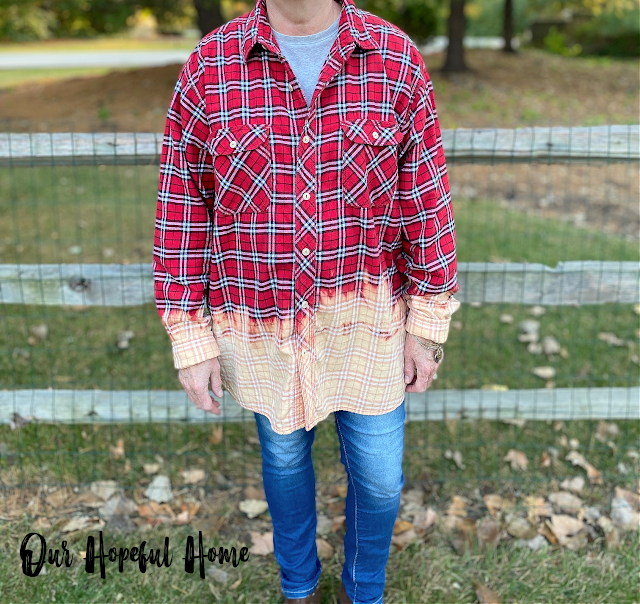 DIY bleached red plaid flannel shirt