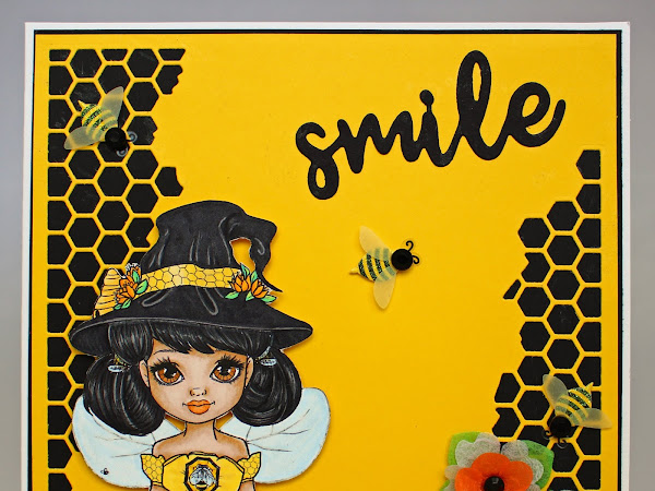 Square layered card featuring Beatrix the Bee Witch