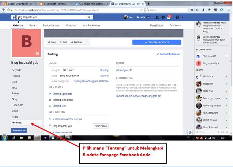 Cara memasang Halaman Fanspage part03
