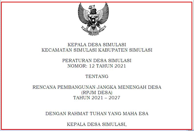 Peraturan Desa tentang Rencana Pembangunan Jangka Menengah Desa   Download Perdes RPJMDes Terbaru