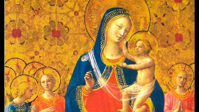 Imagem sacra com fundo dourado e doutrina religiosa