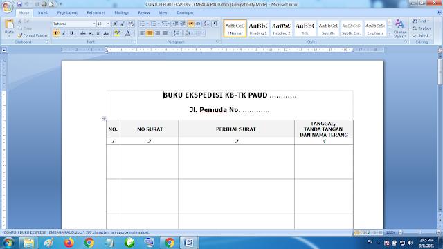 Download Contoh Format Buku Ekspedisi Lembaga Paud TK KB RA