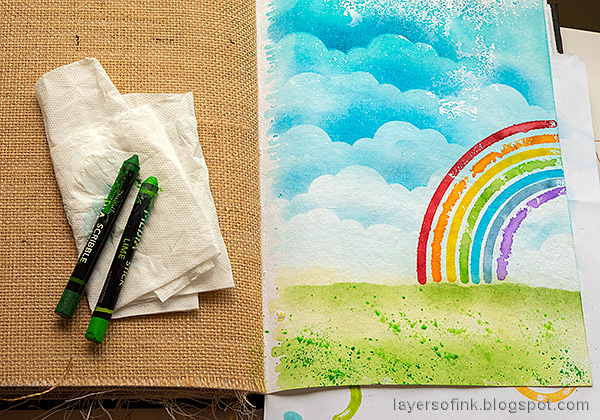 Layers of ink - Rainbow Art Journal Page by Anna-Karin Evaldsson.