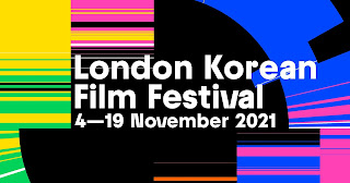 Festival title and dates on a multicoloured, horizontal striped background