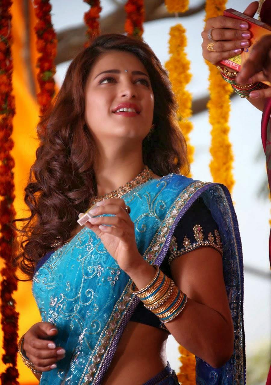 Shruti Hassan Spicy Hip Navel Photos In Blue Saree