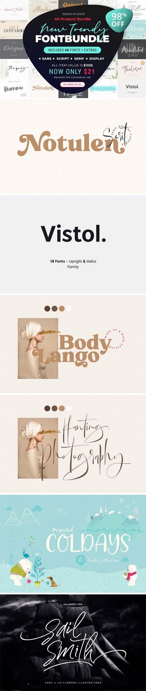 New Trendy Fonts Bundle + Extras