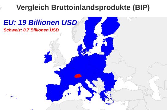 Europakarte EU Schweiz mit Vergleich Bruttoinlandsprodukte (BIP)