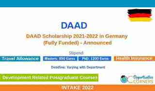 Full Funded | DAAD Scholarships Opportunities 2021/2022 in ...