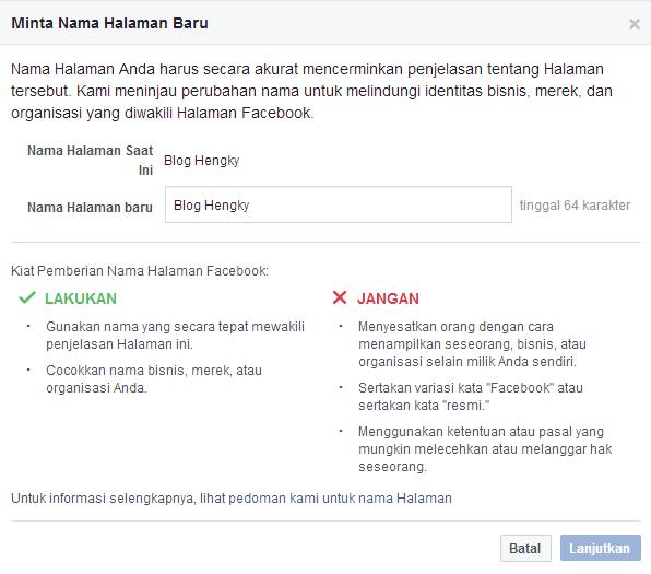 Cara Mengganti Nama Fanspage Facebook
