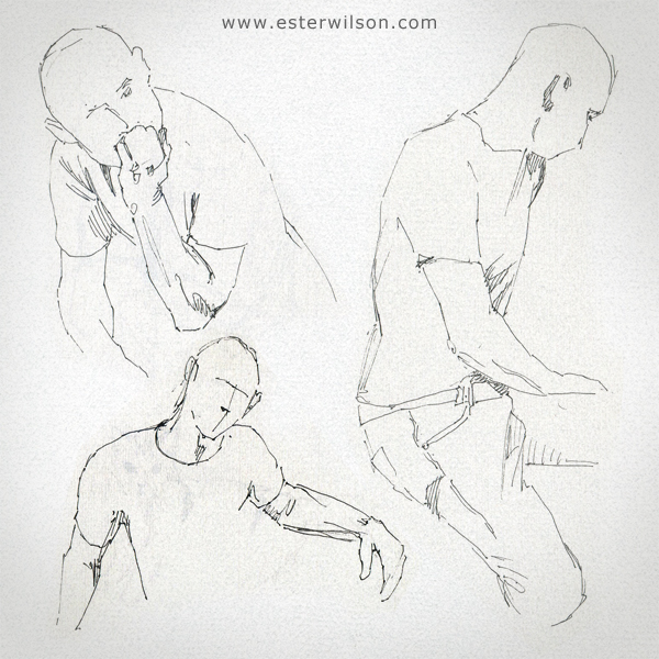Pen and ink figure drawing practice with 3 minute poses