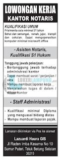 Peluang Kerja di Kantor Notaris Lazuardi Haura GIS Bandar Lampung Terbaru Agustus 2016