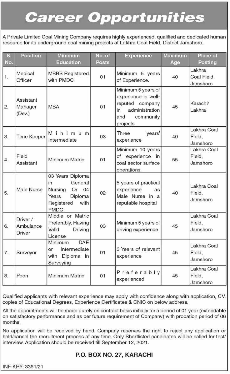 Coal Mining Company Lakhra Coal Field District Jamshoro Jobs 2021