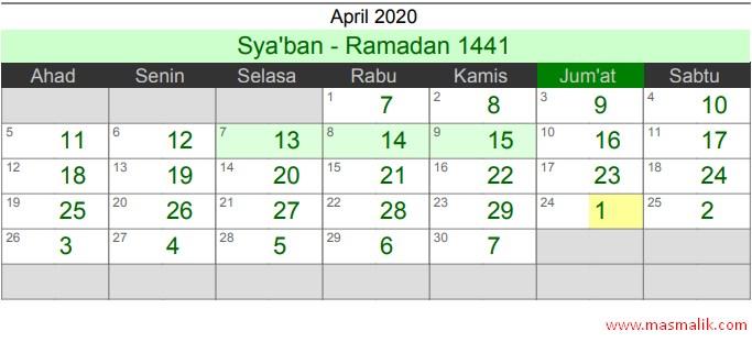 Kalender Islam Tahun 2020, April