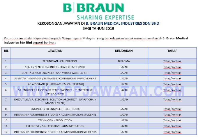 Jawatan Kosong Terkini di B. Braun Medical Industries Sdn Bhd.