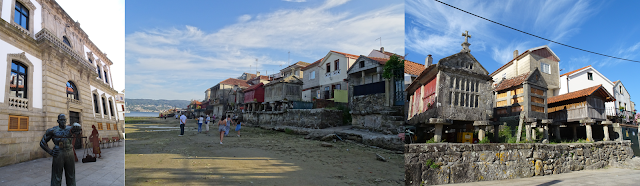 Viaje a Galicia: tras el ayuntamiento de Pontevedra y Combarro: vistas desde la playa y algunos hórreos