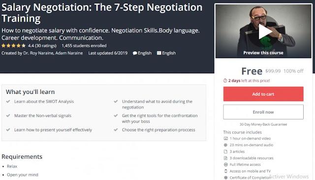 [100% Off] Salary Negotiation: The 7-Step Negotiation Training| Worth 99,99$