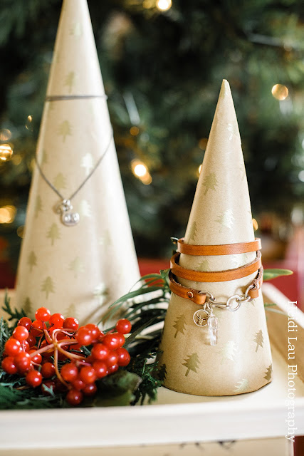 DIY jewellery display cones using wrapping paper | jewellery by MarmaladeDesigns.ca