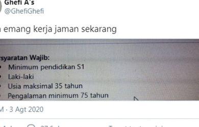 Loker Usia 35 dan Pengalaman Kerja 75 Tahun, Netizen: Maaf Ini dari Masih Jadi Tanah Udah Kerja Apa Gimana?