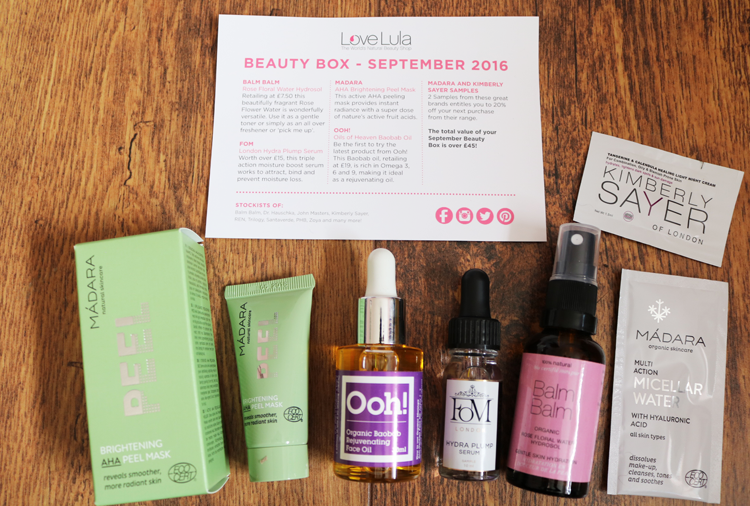 Love Lula Beauty Box September 2016 review