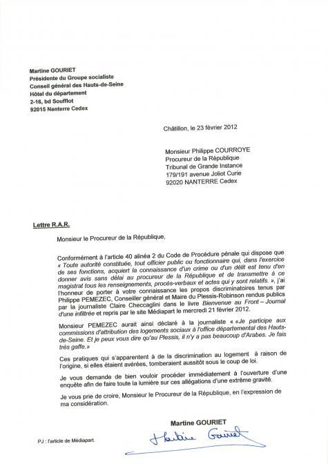 modele de lettre de refus de logement social Vivre au Plessis Robinson: Pemezec, le FN et les discriminations  modele de lettre de refus de logement social