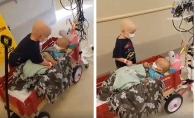 El vídeo de un niño con cáncer ayudando a su amiga en el hospital que conmueve al mundo